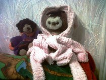 wol in dressing gown with tedz