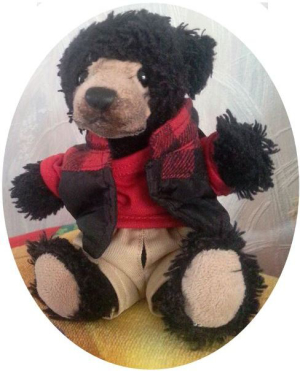 Tedz wearing a red shirt, black waistcoat and tan trousers